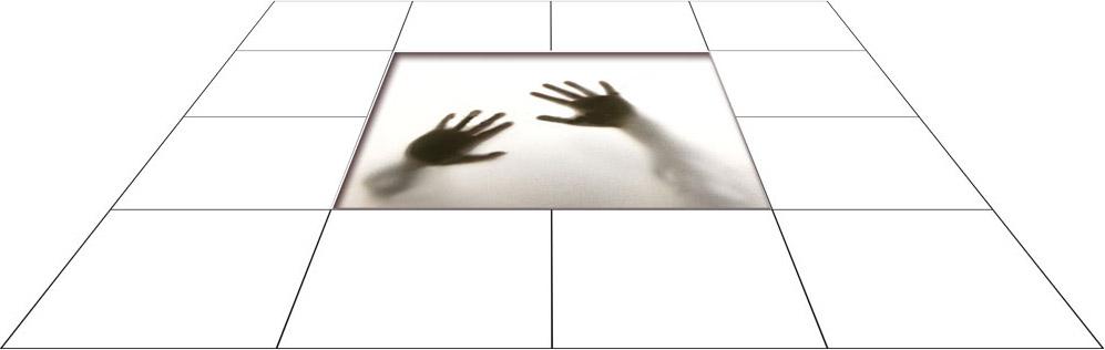 panele podłogowe 60 x 60 Dłonie za szybą