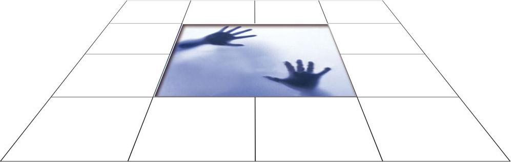 panele podłogowe 60 x 60 Cień dłoni za szybą